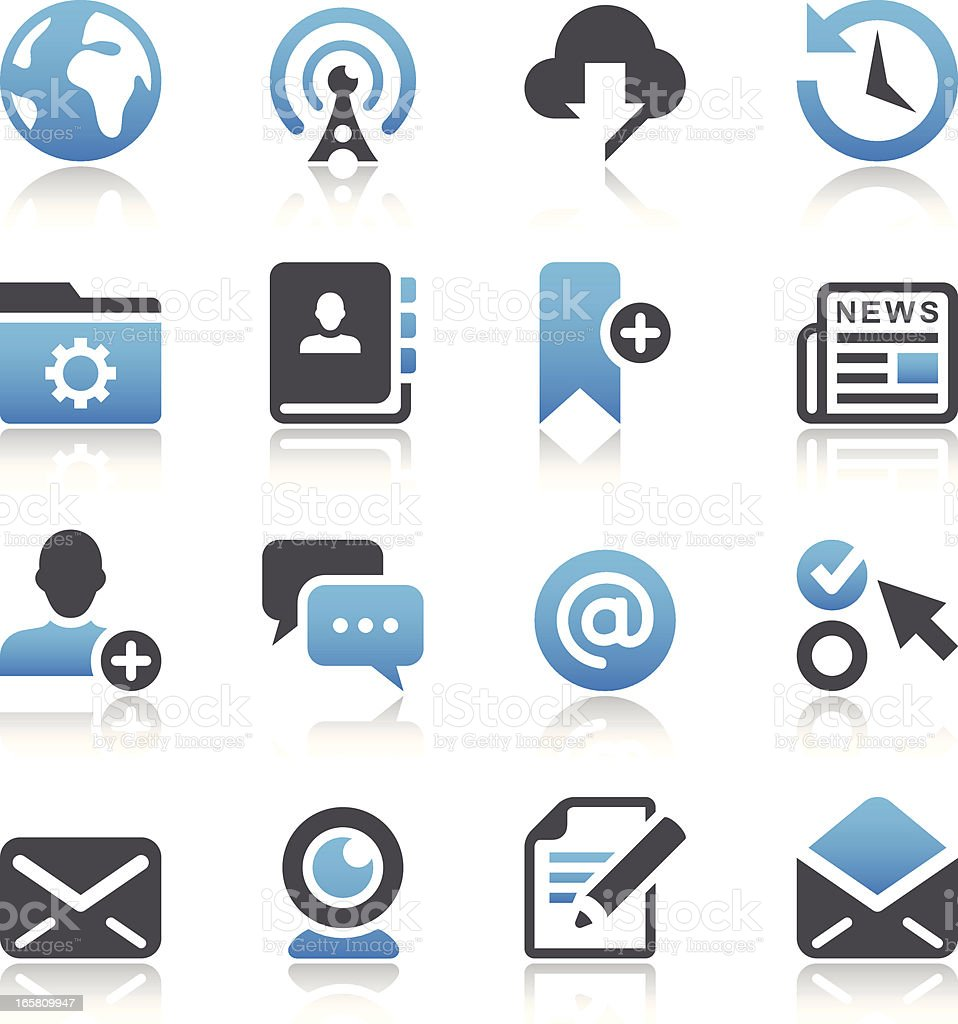 Blue and dark gray interface icons vector art illustration