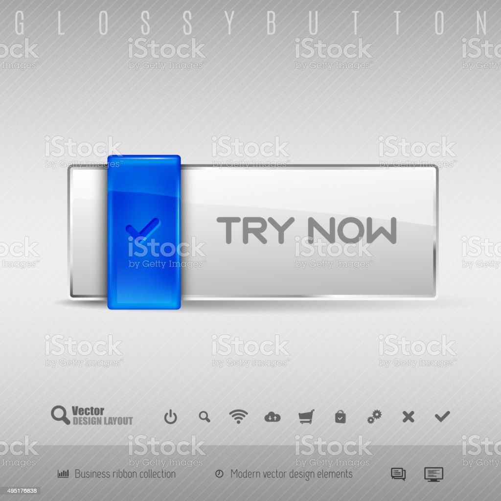 Blue and Gray Button vector art illustration