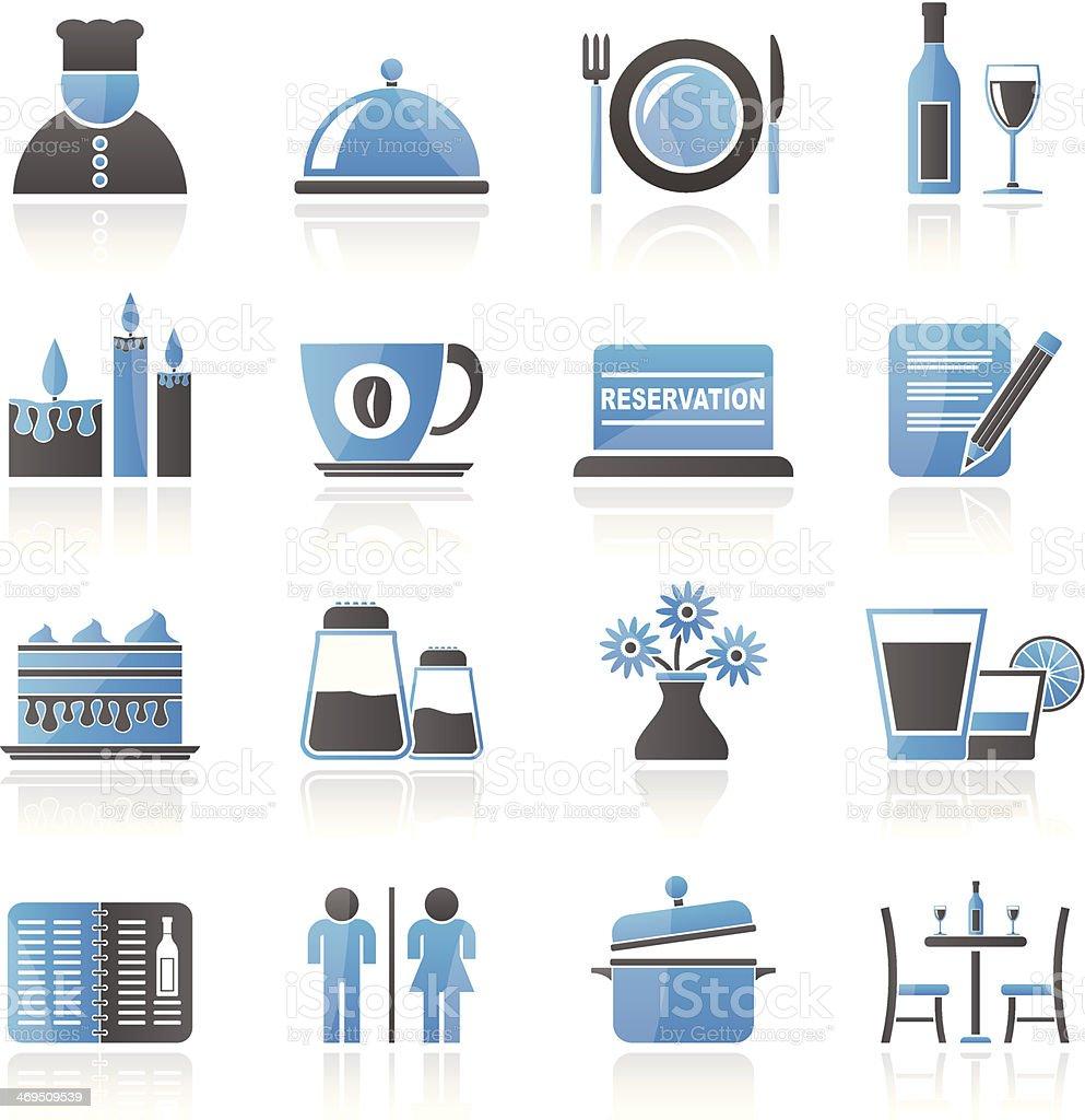 Blue and gray restaurant icons vector art illustration