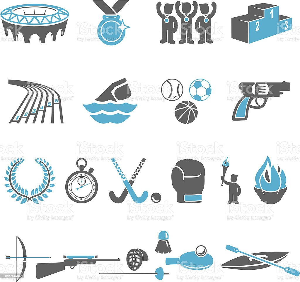Blue and gray Olympic sports icons vector art illustration
