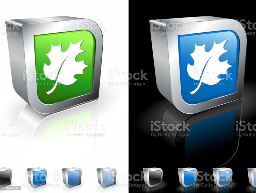 Blue and green 3D icons with a white maple leaf. royalty-free stock vector art