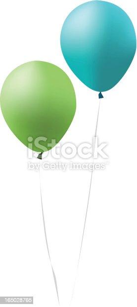 Blue And Green Balloons stock vector art 165028765 | iStock