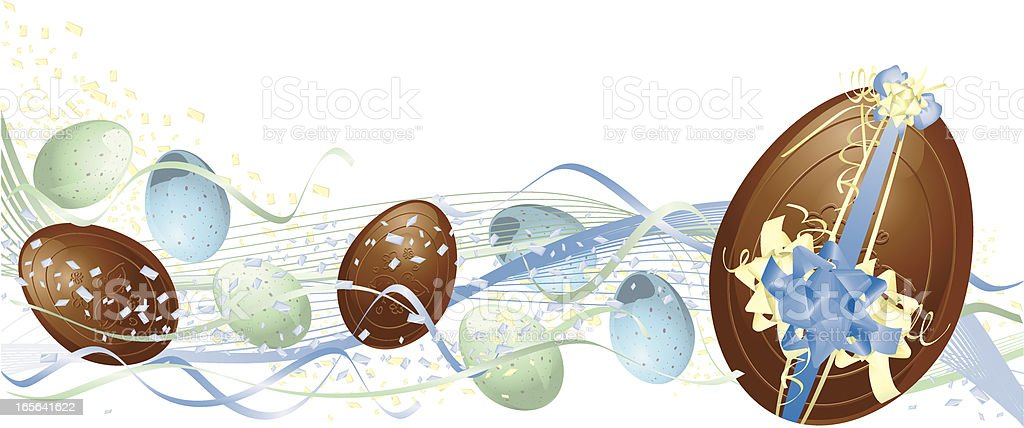 Blue and Green Chocolate Easter Egg Banner royalty-free stock vector art