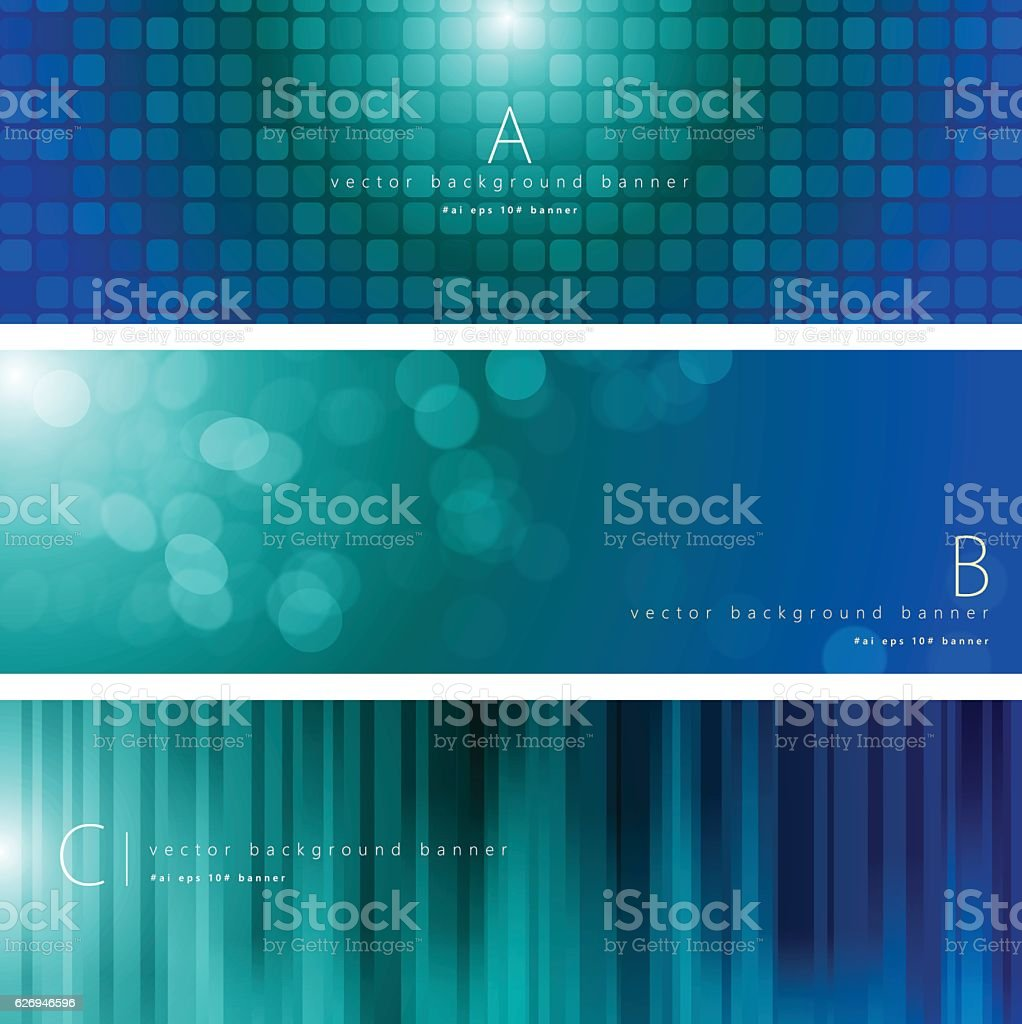 Blue and green color pattern background banner set vector art illustration