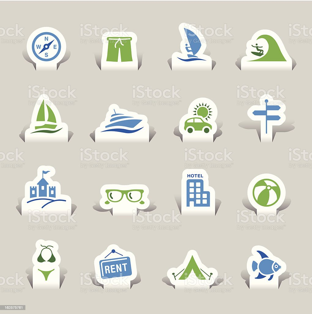 Blue and green, paper cut, vacation icons vector art illustration