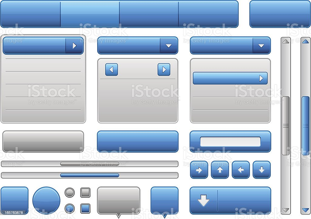 Blue and grey colored web elements vector art illustration