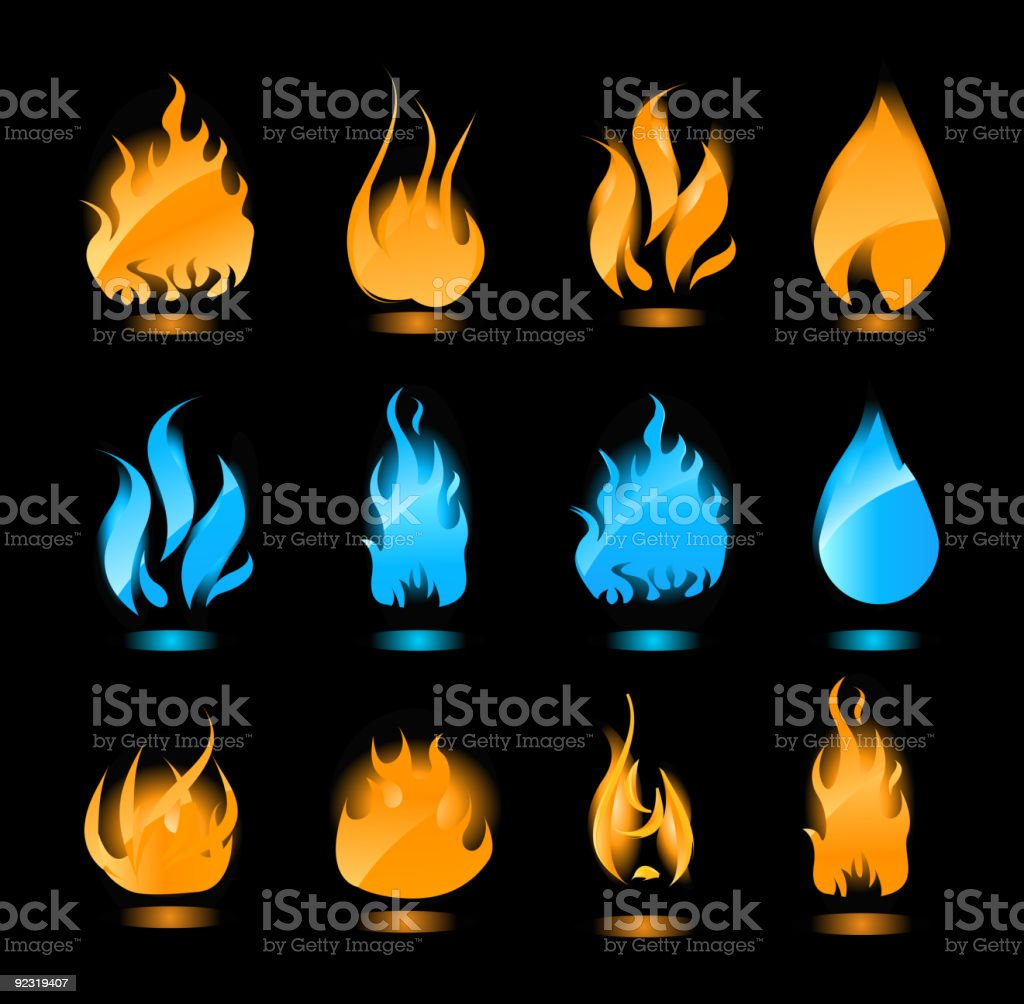 Blue and orange glowing flames on black background royalty-free stock vector art