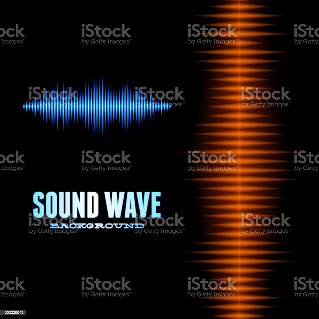 Blue and orange shiny sound waveform background vector art illustration