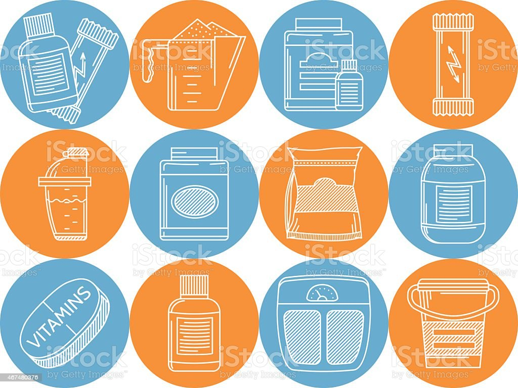 Blue and orange vector icons for sports nutrition vector art illustration