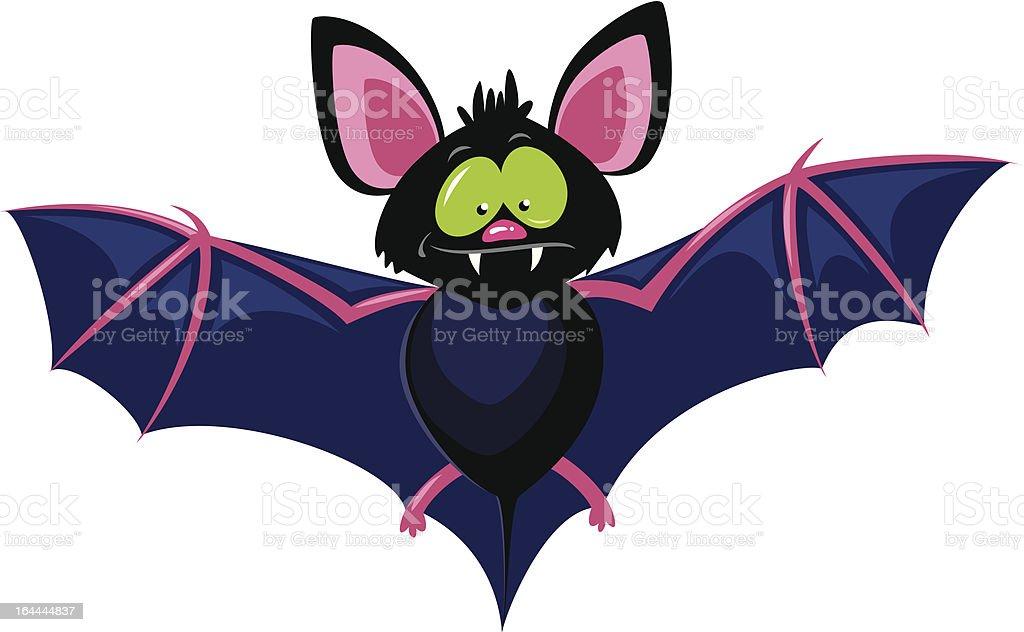 Blue and pink cartoon bat with big green eyes royalty-free stock vector art