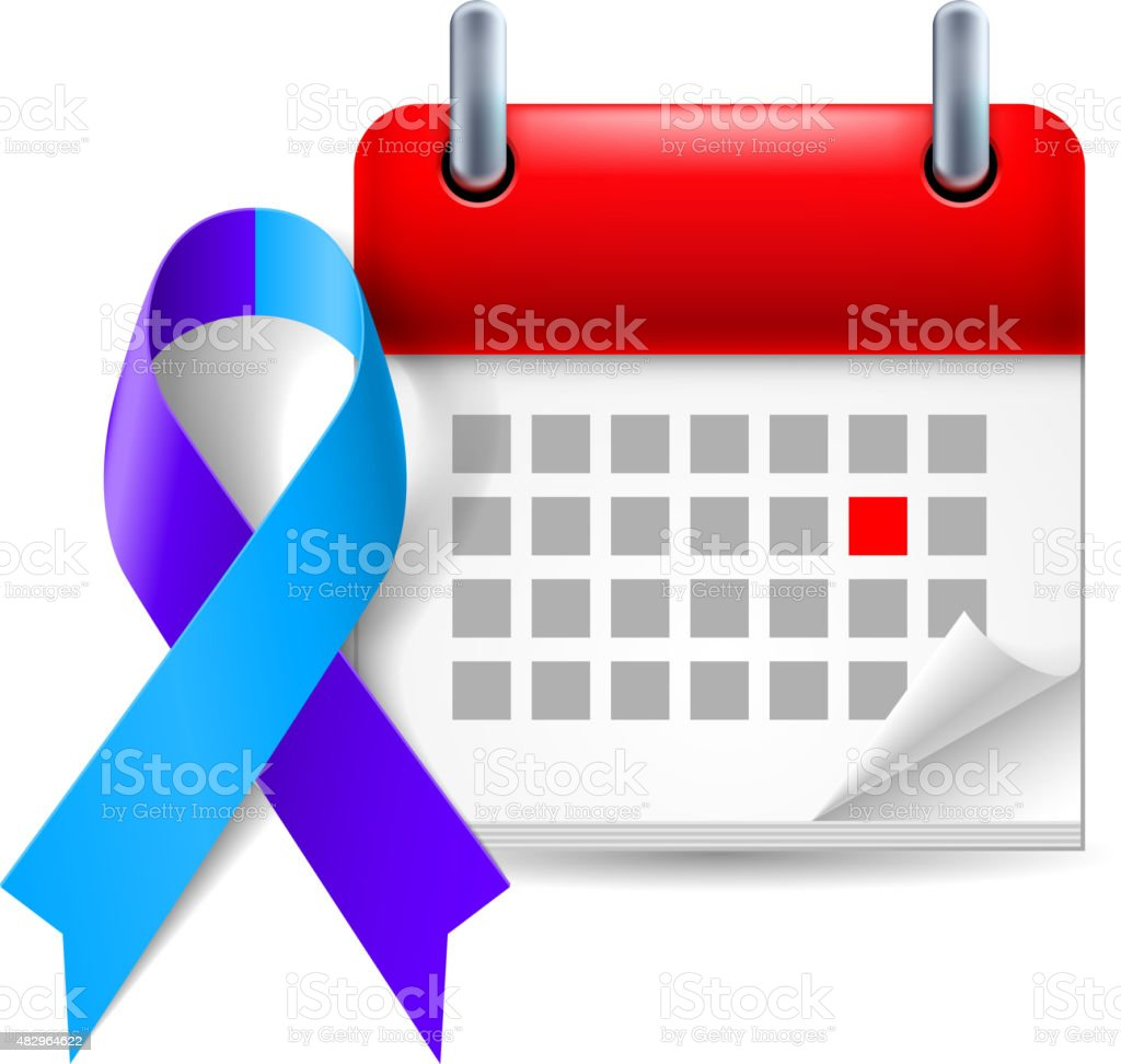 Blue and purple awareness ribbon and calendar vector art illustration