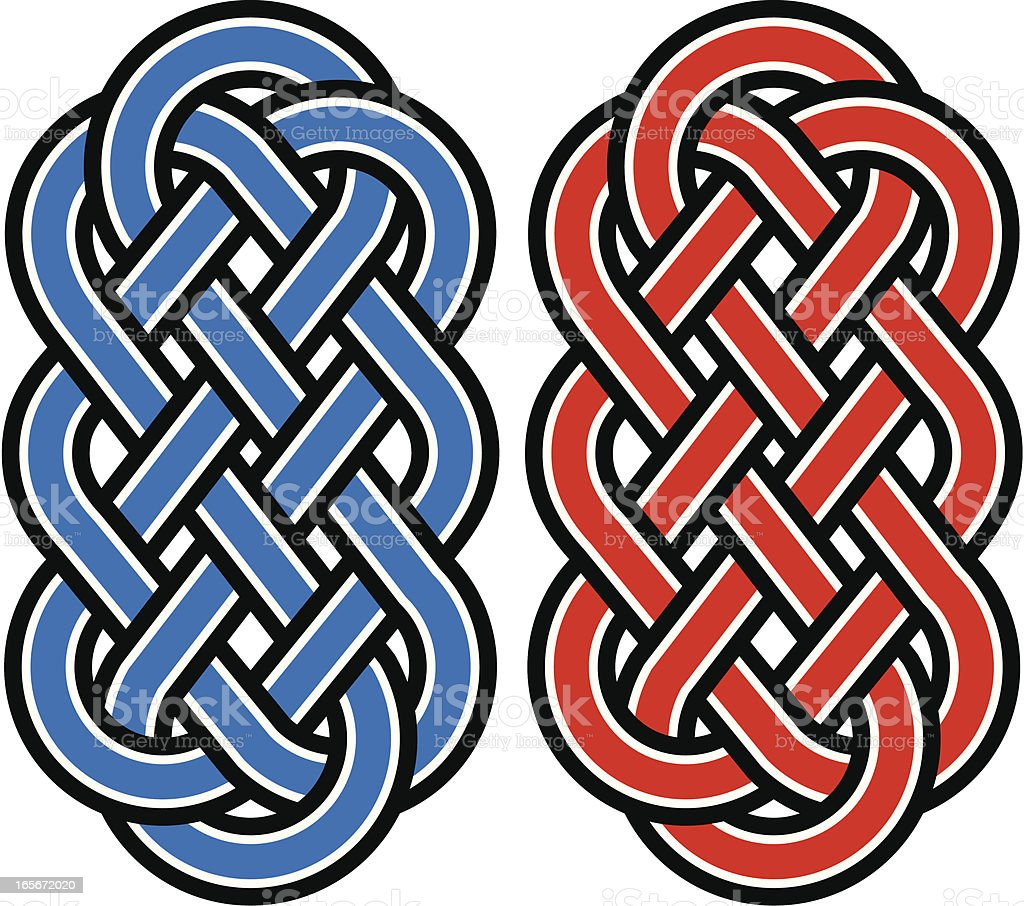 Blue and red Celtic knots isolated on a white background royalty-free stock vector art