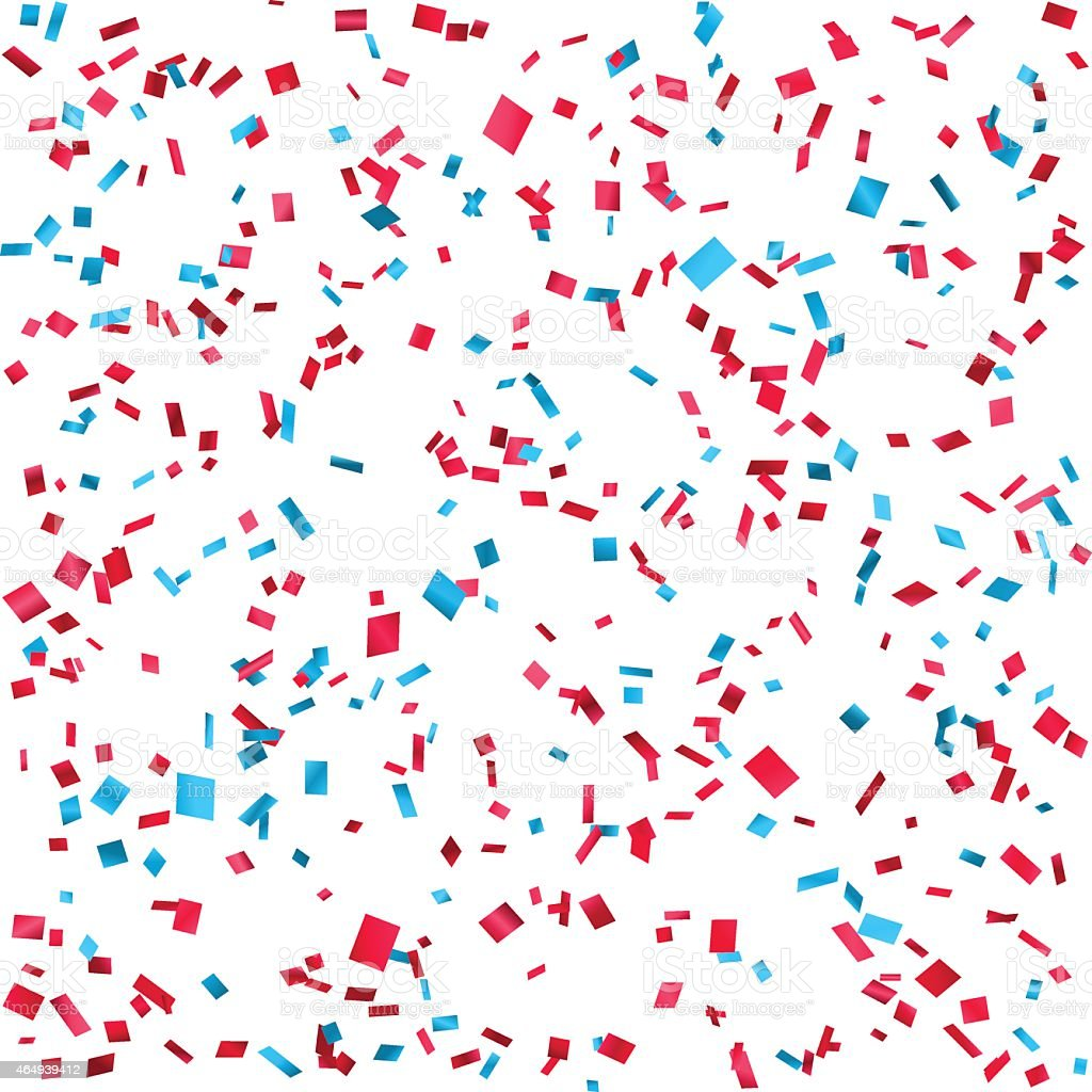 Blue and red confetti on white background vector art illustration