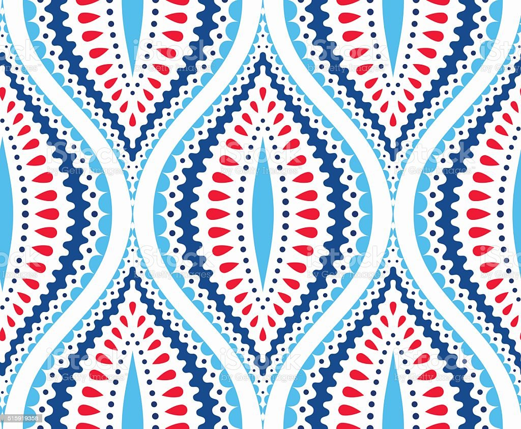 Blue and Red Decorative Pattern vector art illustration