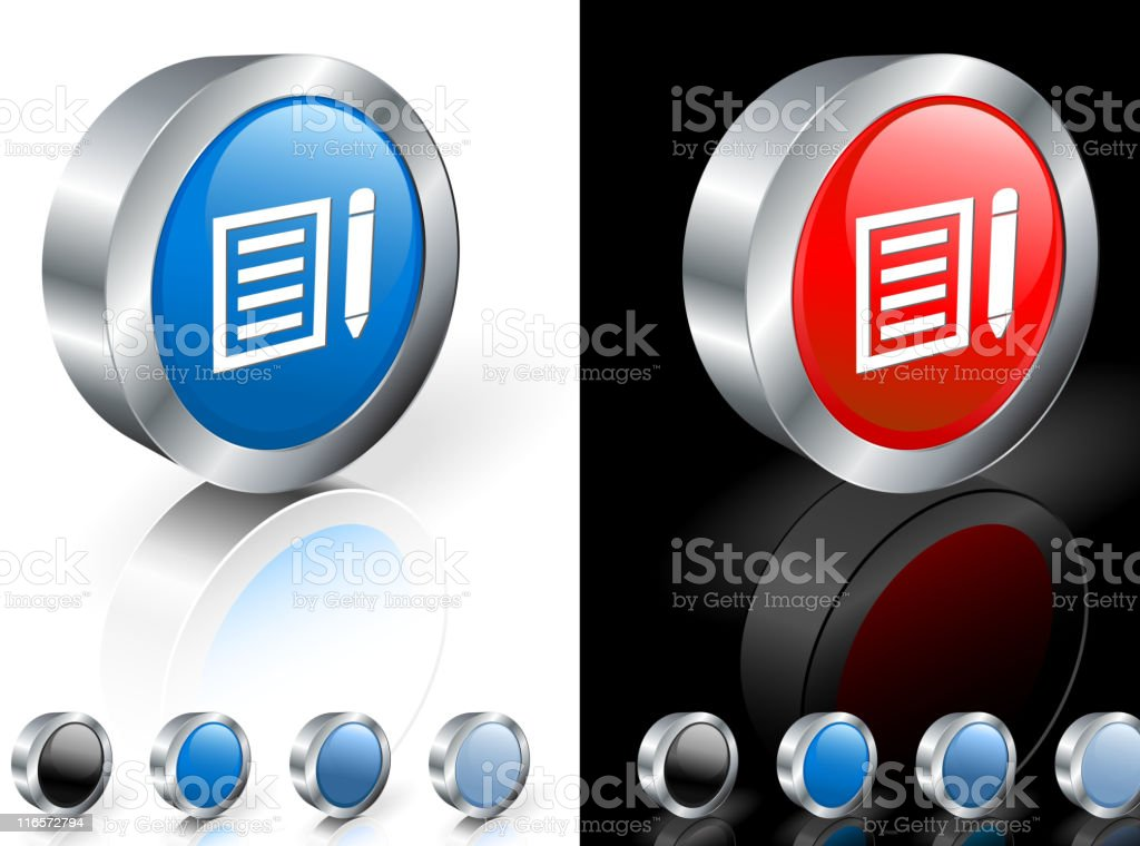 Blue and red icons with. White notepad and pen pic on each. vector art illustration