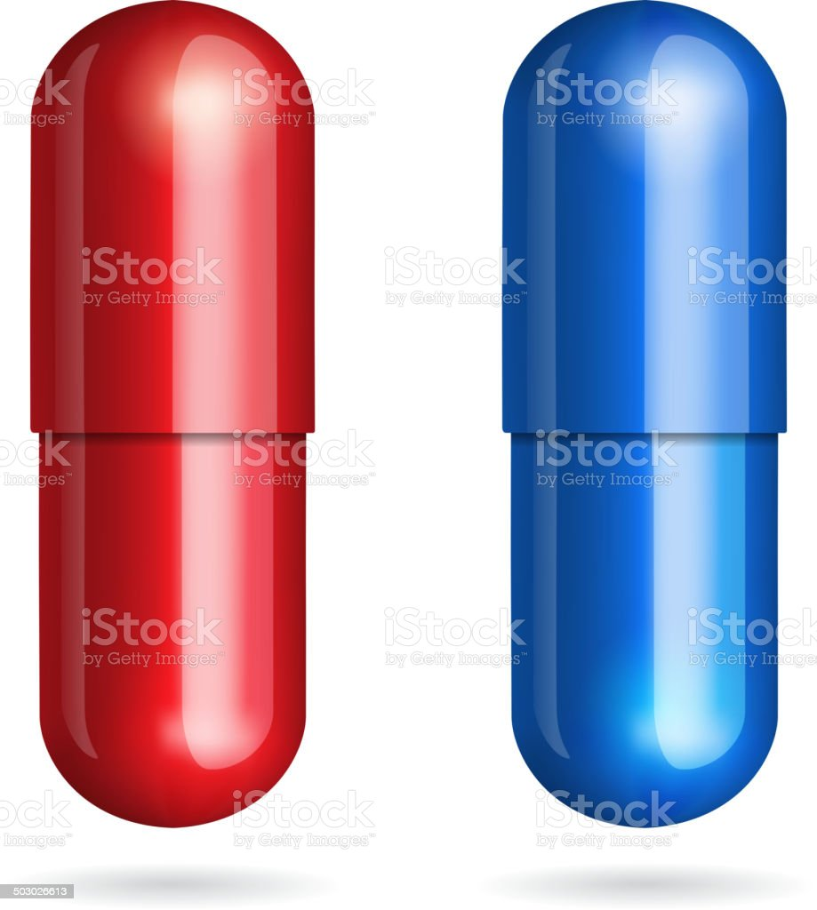 Blue and red pills royalty-free stock vector art