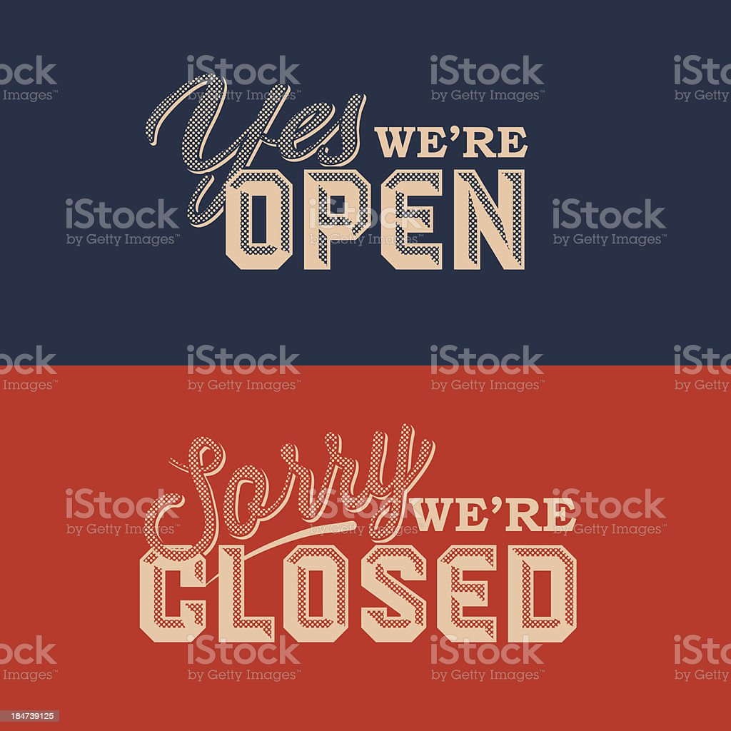 Blue and red retro style open and closed signs vector art illustration
