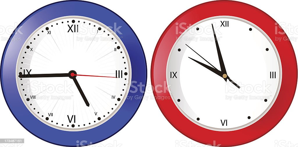 blue and red wall clock royalty-free stock vector art
