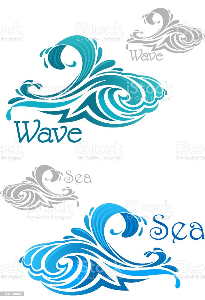 Blue and teal ocean waves icons vector art illustration
