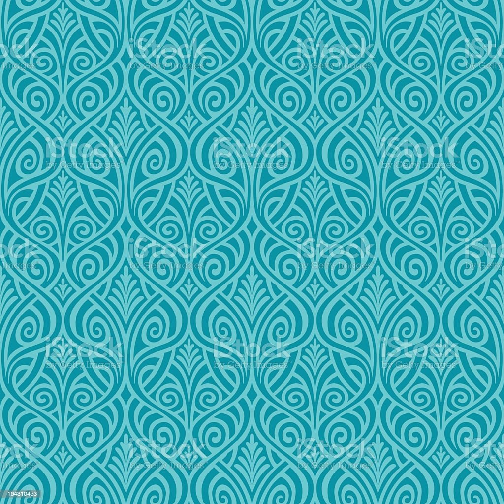 Blue and teal seamless floral background vector art illustration