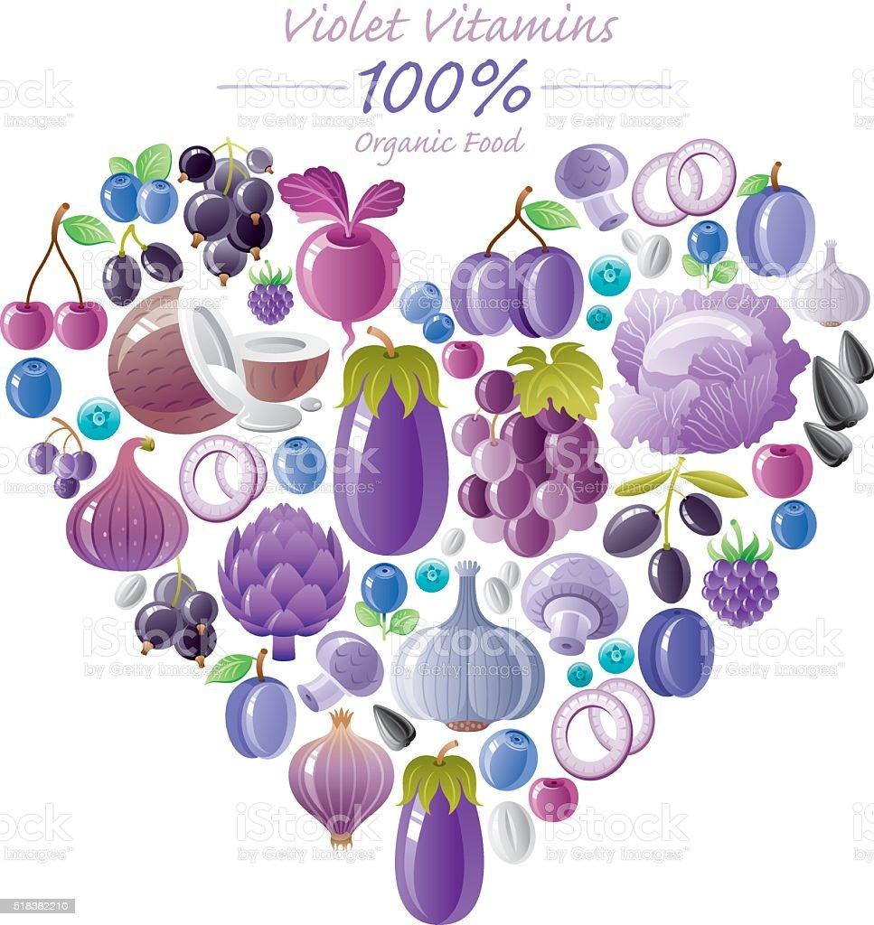 Blue and violet fruits and vegetables heart shape vector art illustration