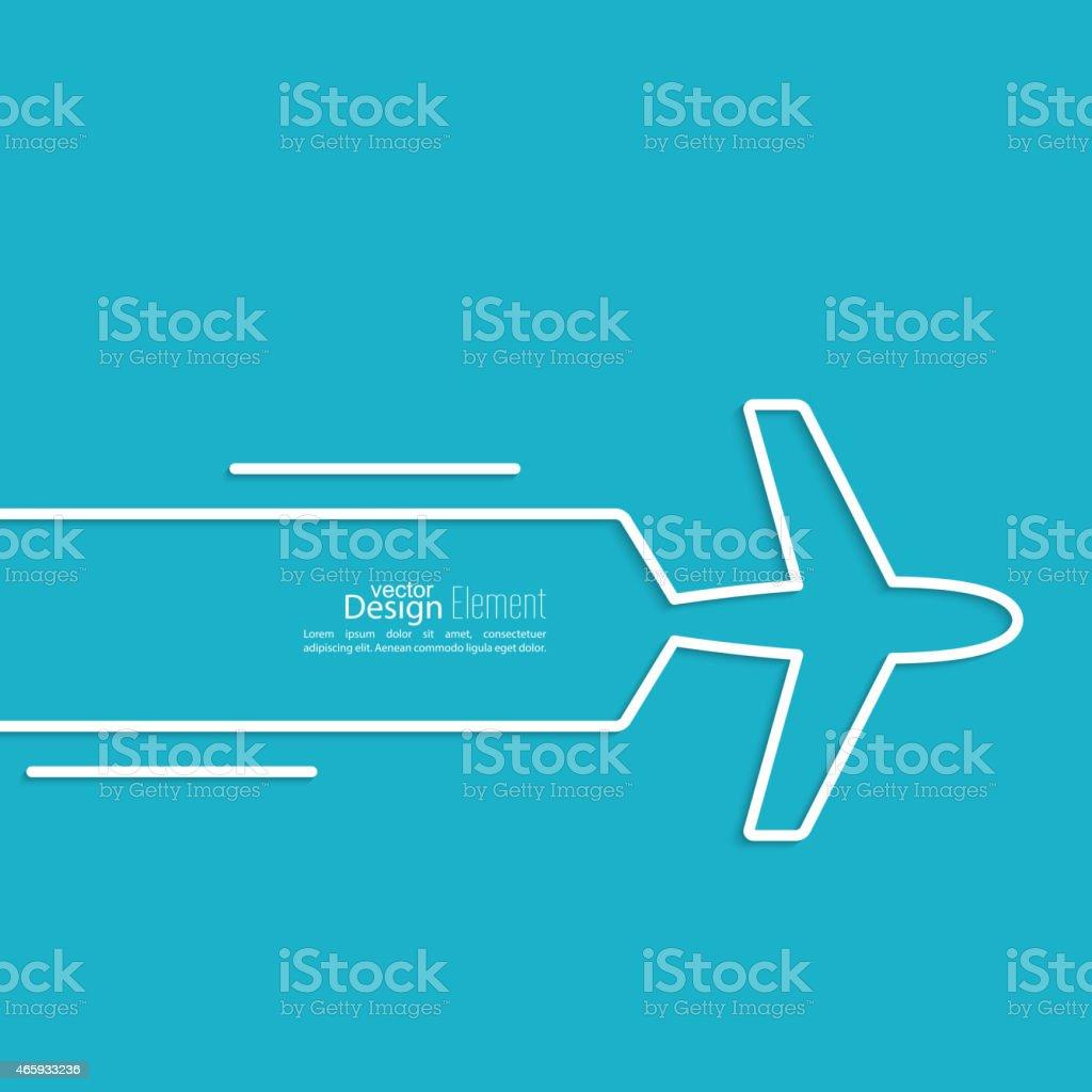 Blue and white airplane design vector art illustration