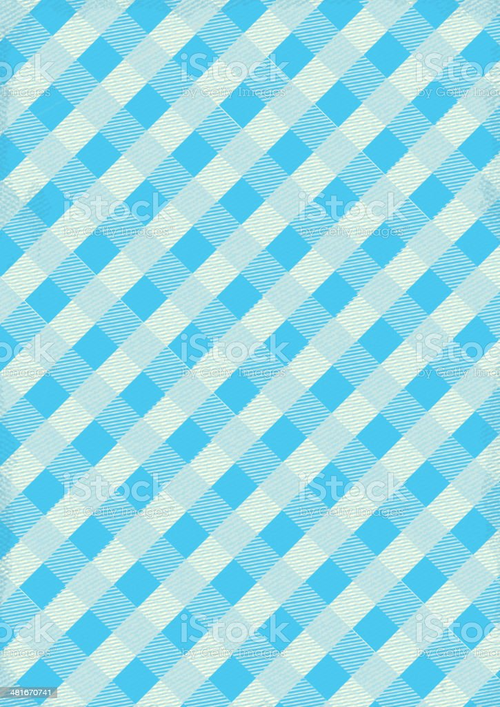 Blue and white Checked table cloth background with texture vector art illustration