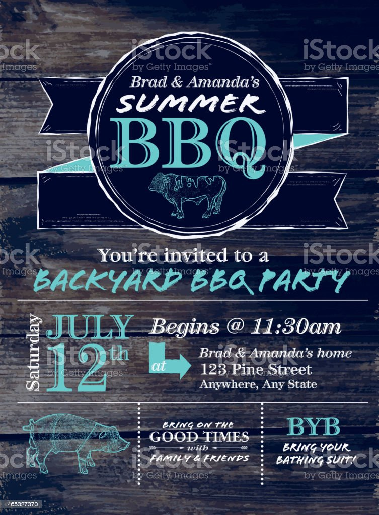 Blue and white country BBQ design template on wood background vector art illustration
