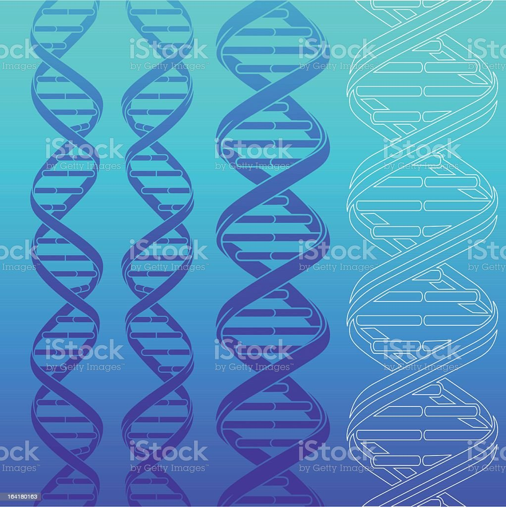 Blue and white DNA strands on blue gradient background royalty-free stock vector art
