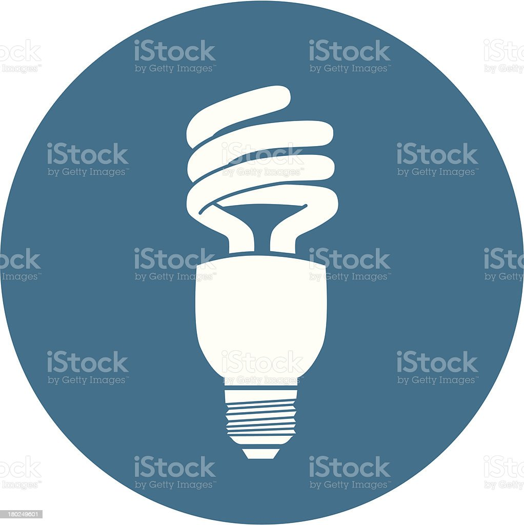 Blue and white energy efficient light bulb icon royalty-free stock vector art