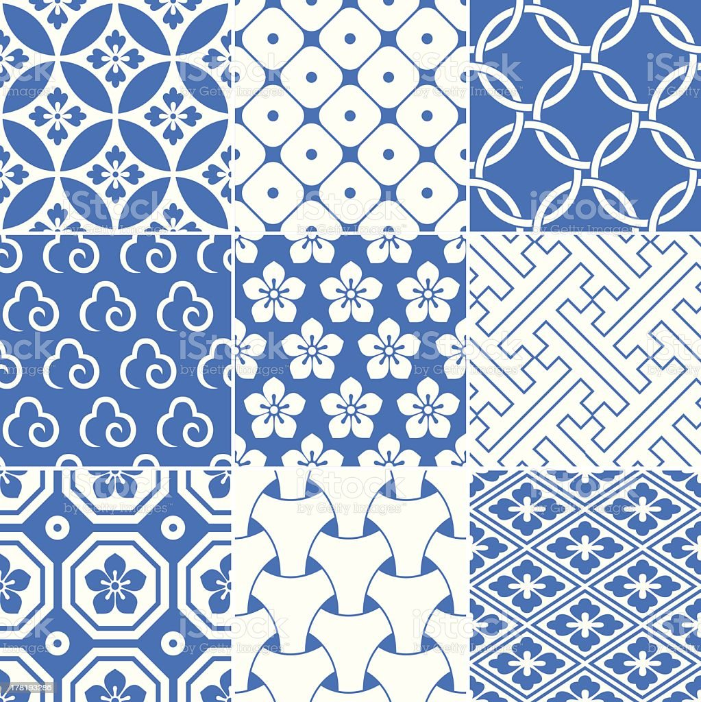 Blue and white geometric pattern squares vector art illustration