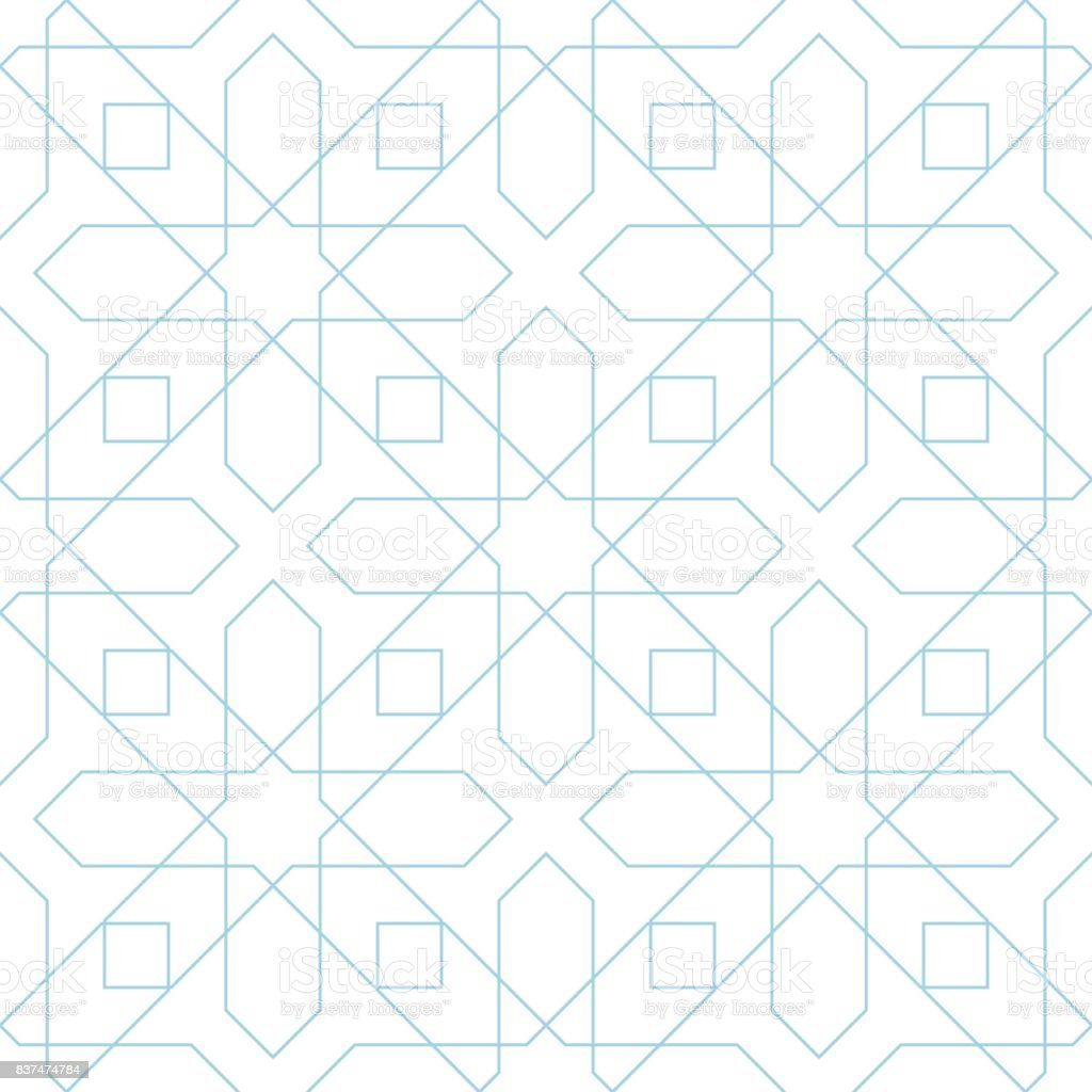 Blue and white geometric seamless pattern vector art illustration