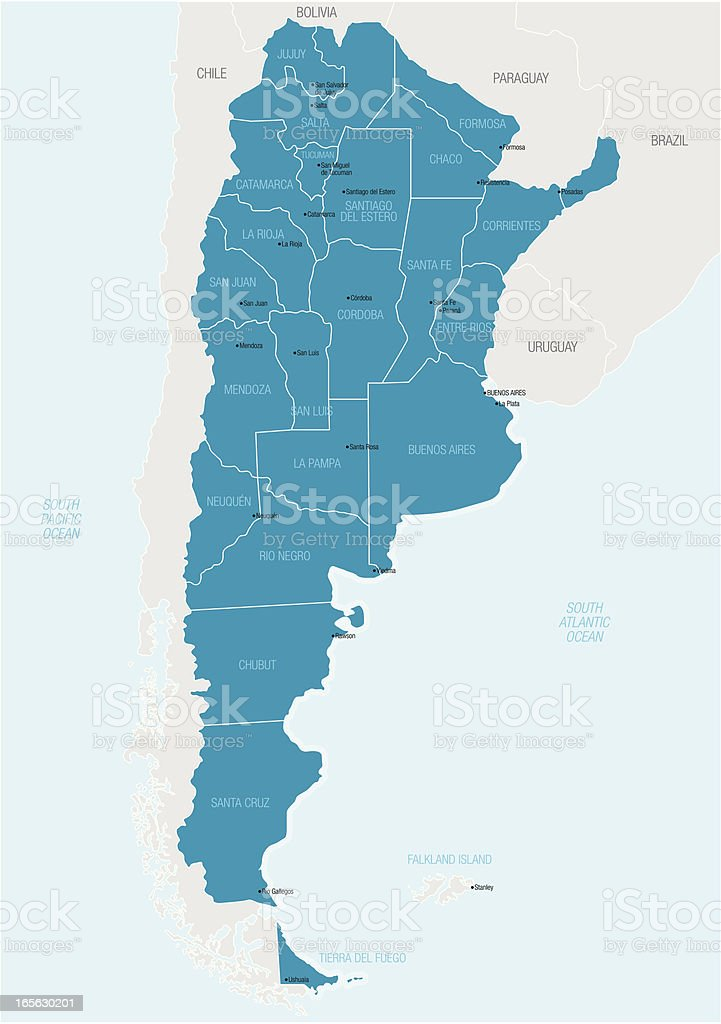 A blue and white graphic map of Argentina vector art illustration