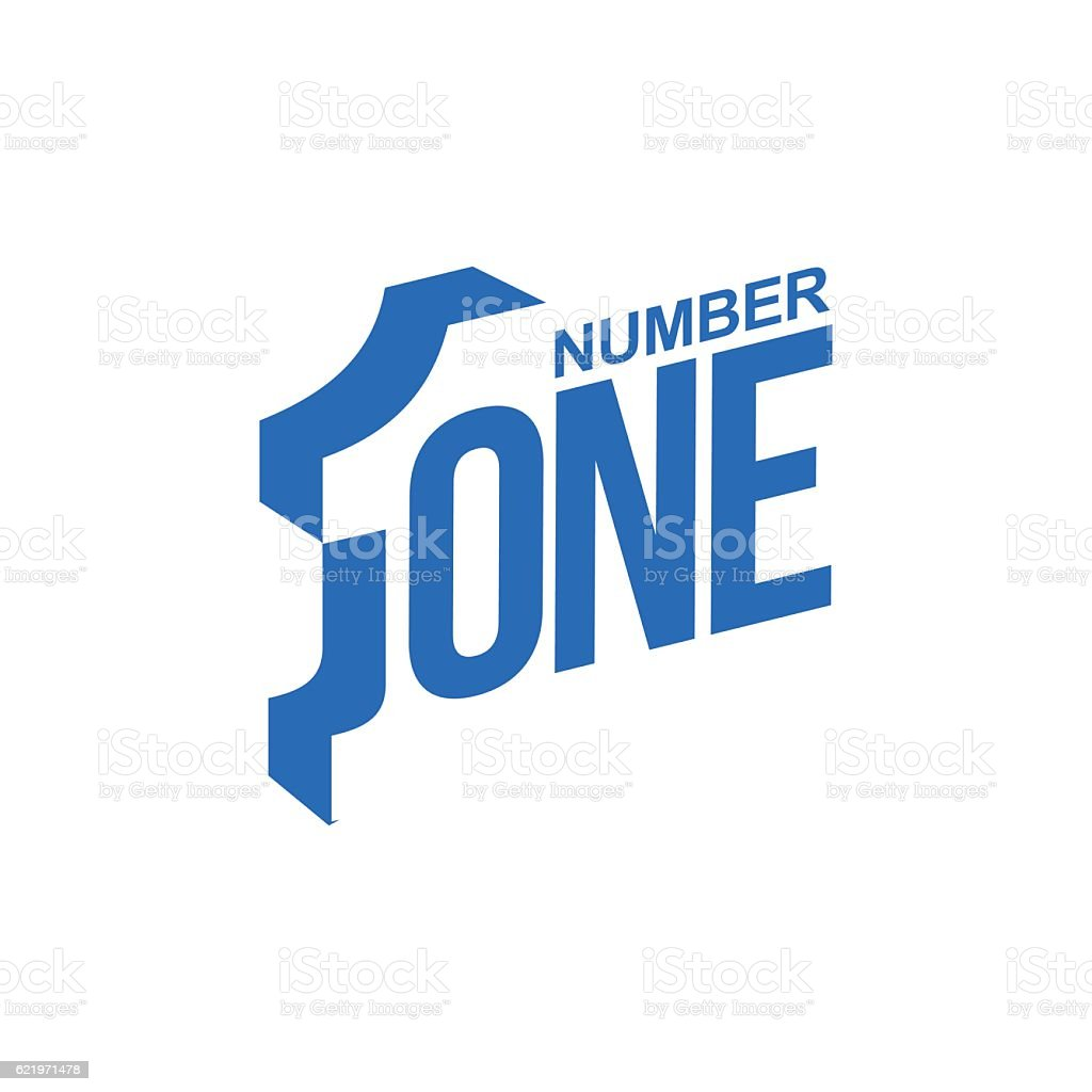 blue and white number one diagonal logo template vector art illustration