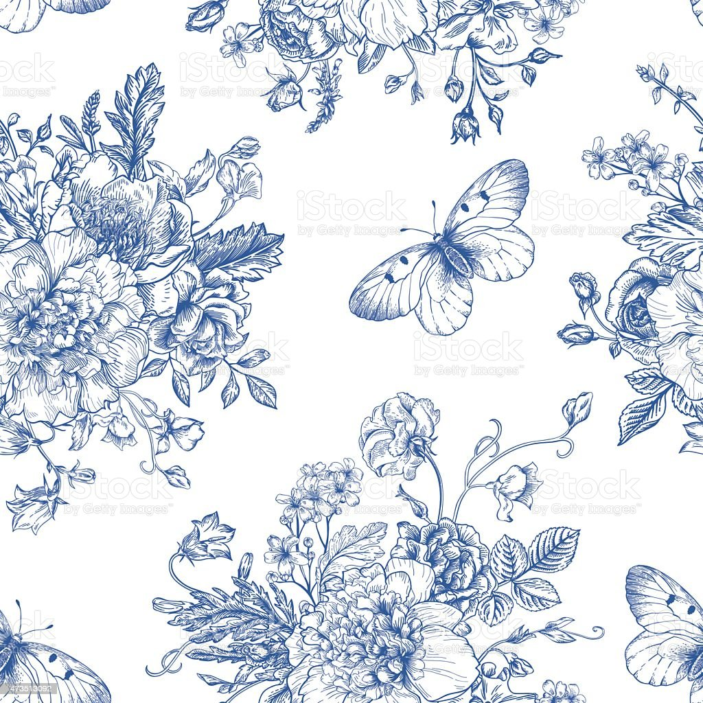 A blue and white pattern of flowers and butterflies vector art illustration