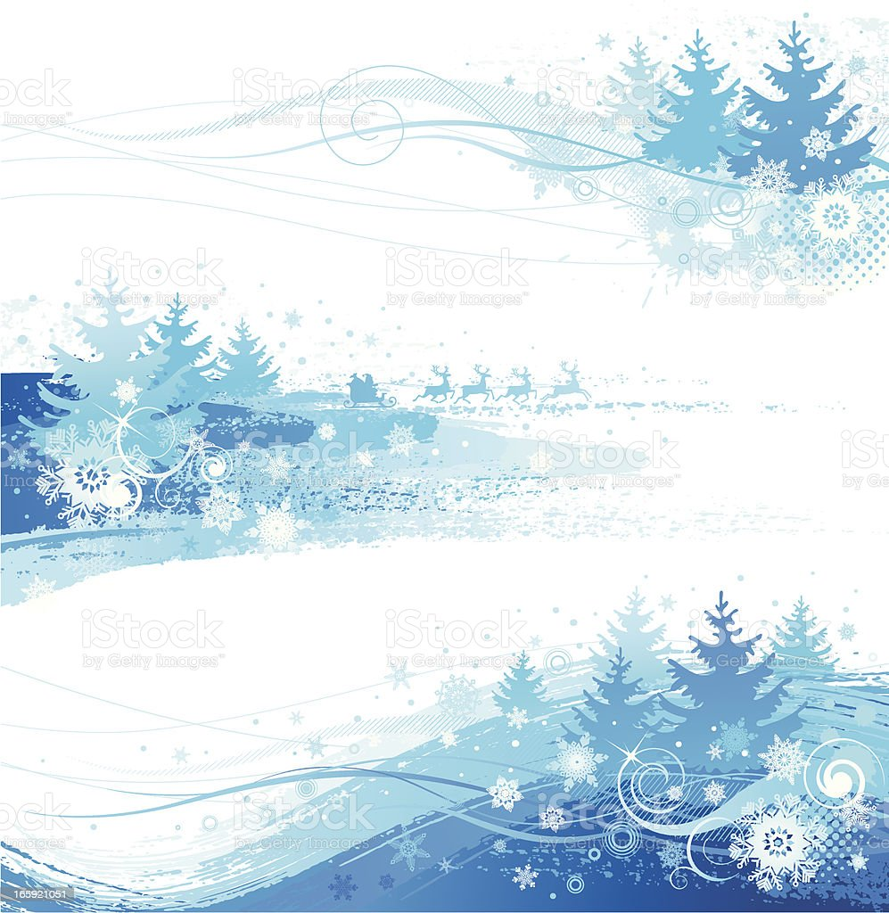 Blue and white Pine tree and snowflake Xmas borders royalty-free stock vector art