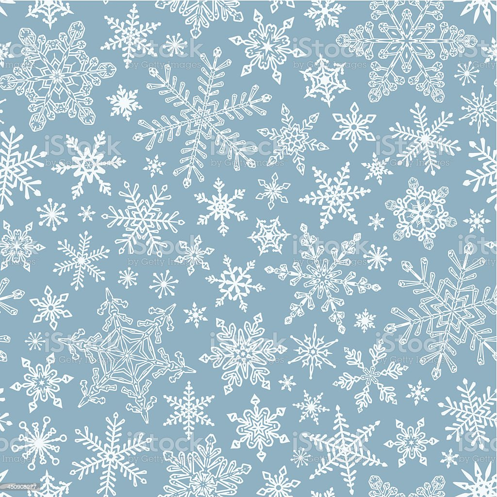 Blue and white seamless snowflake pattern vector art illustration
