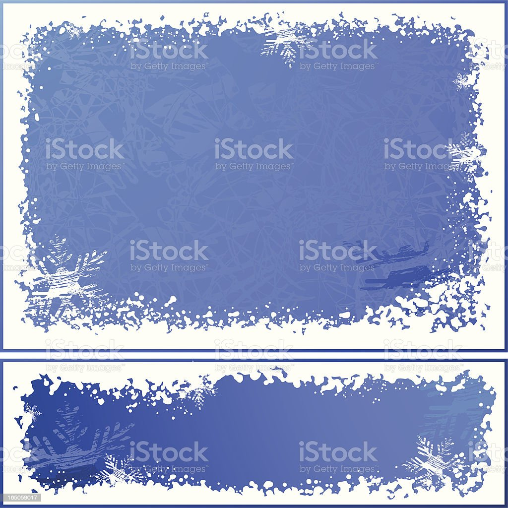 Blue and white snow and ice template for banner and card royalty-free stock vector art