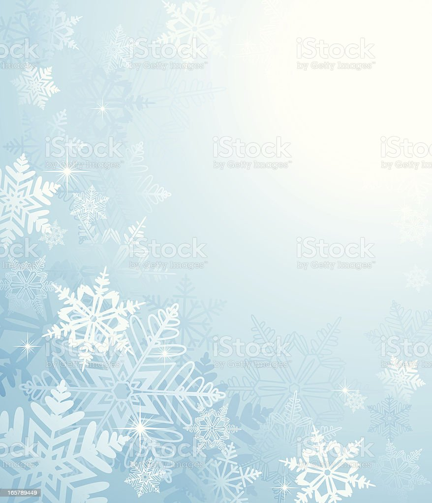 A blue and white snowflake background royalty-free stock vector art