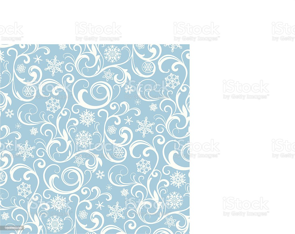 Blue and white snowflake pattern with a white border royalty-free stock vector art