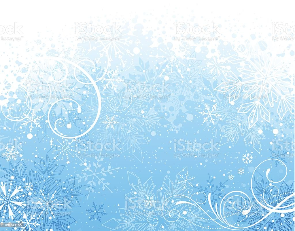 Blue and white snowflake winter background with swirls royalty-free stock vector art