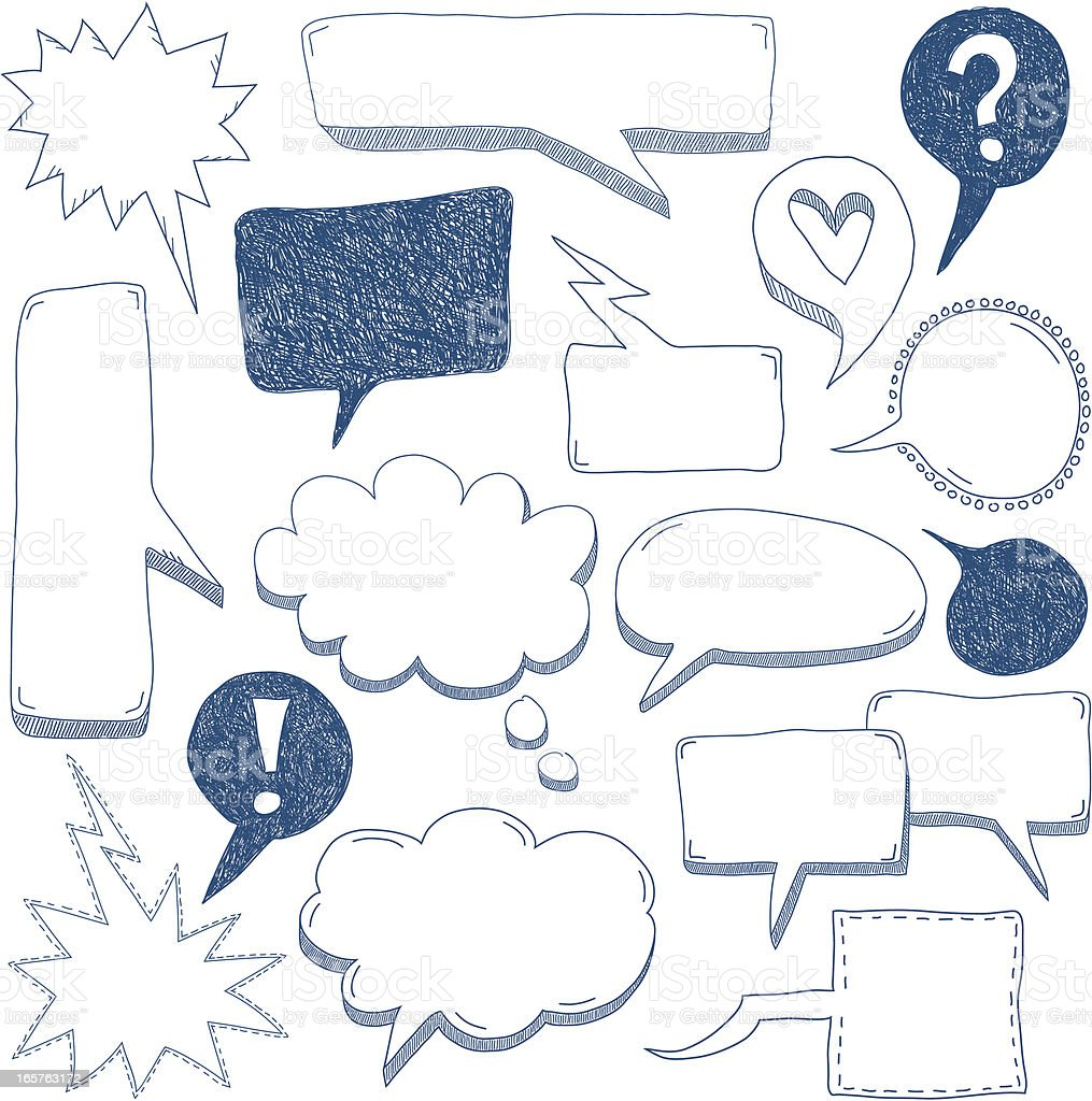 Blue and white speech bubbles as a doodle royalty-free stock vector art