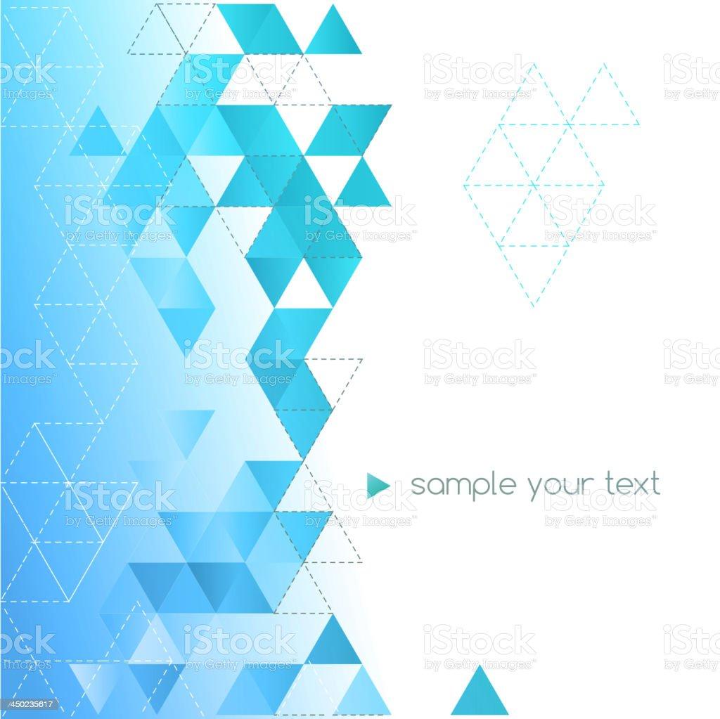 Blue and white triangular background vector art illustration