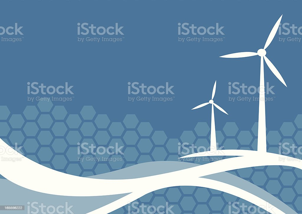 Blue and white vector image of wind turbines vector art illustration