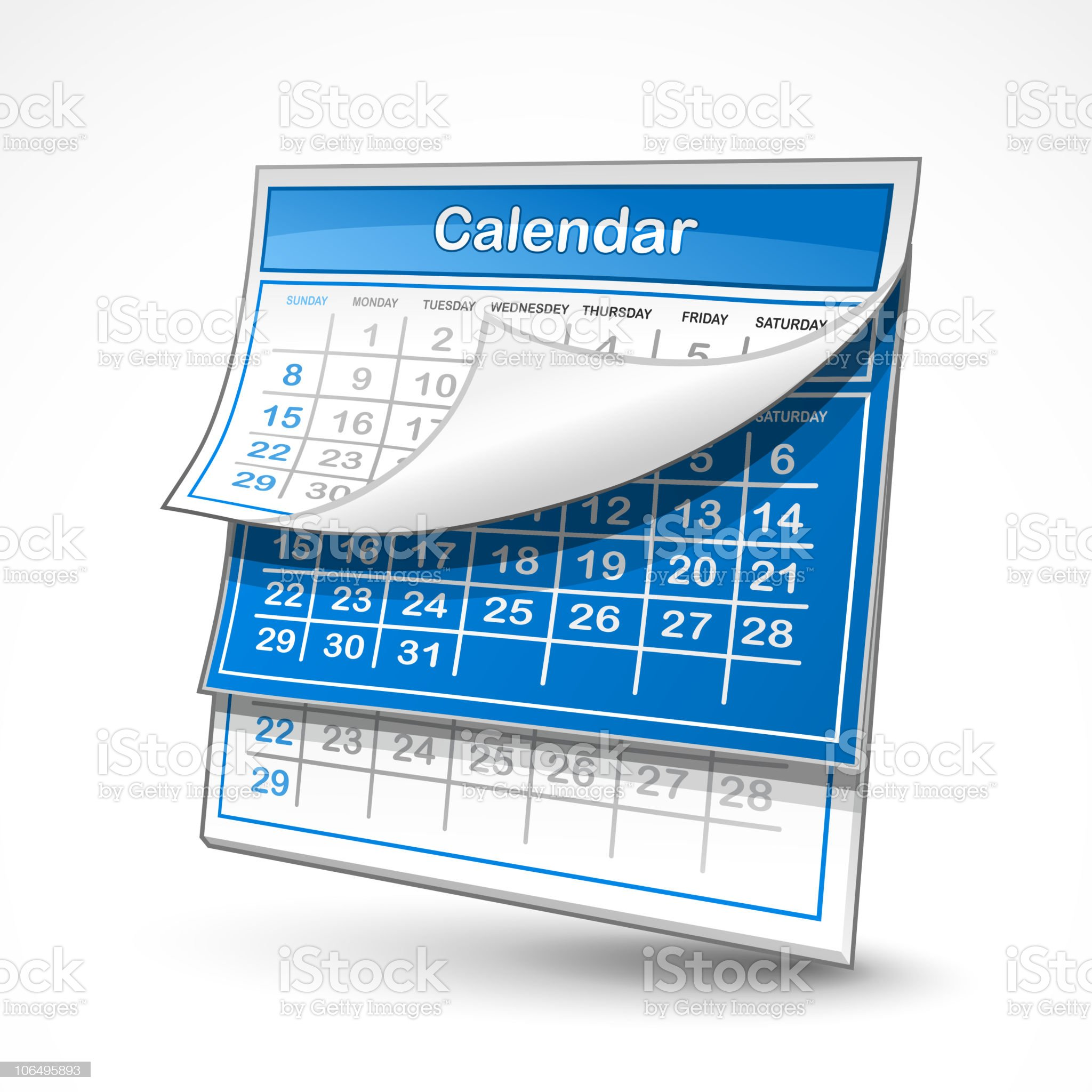 A blue and white wall calendar royalty-free stock vector art
