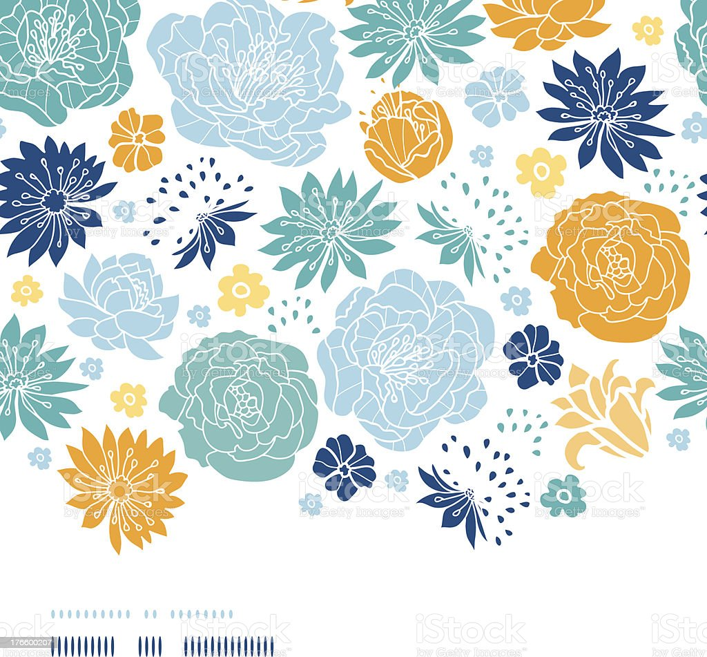 Blue and yellow flowersilhouettes horizontal decor seamless pattern background vector art illustration