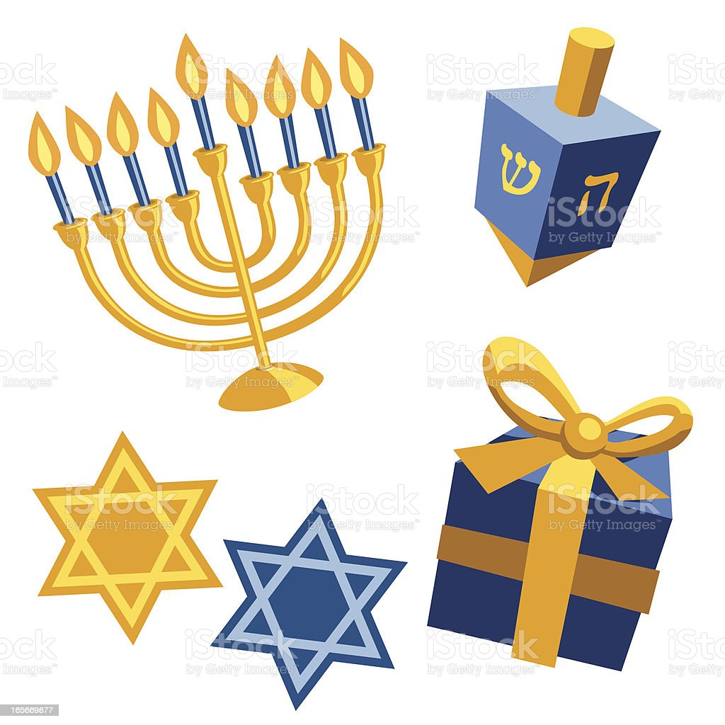 Blue and yellow Hanukkah templates on white background royalty-free stock vector art