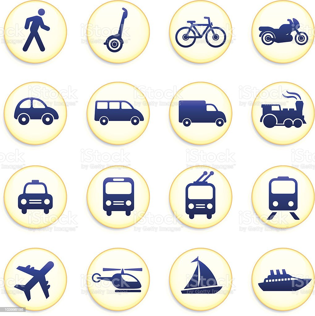 Blue and yellow transportation icons vector art illustration