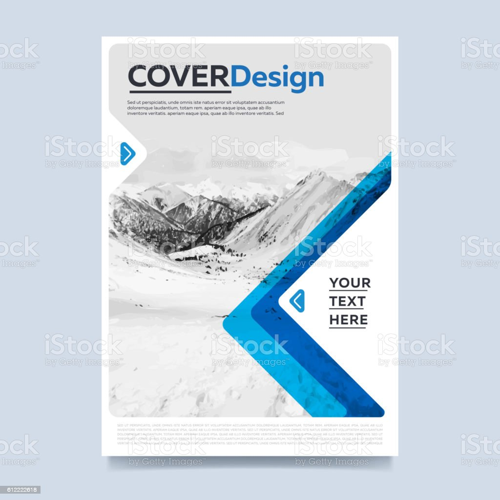 Blue annual report brochure design template vector vector art illustration