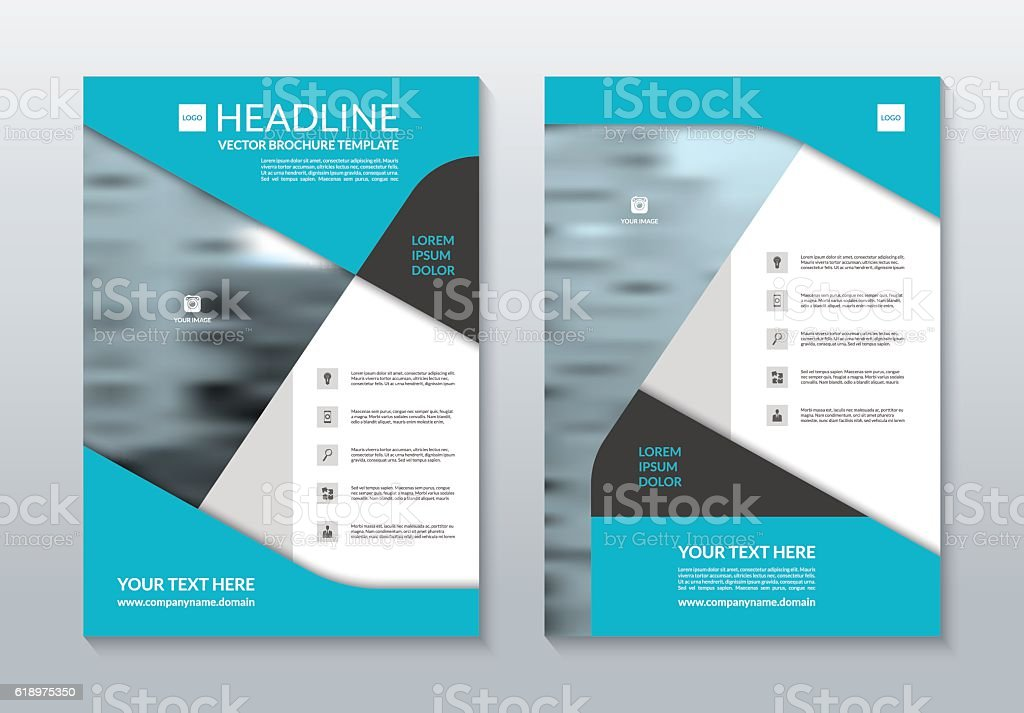 Blue Annual Report Brochure Layout Template A4 Size Vector